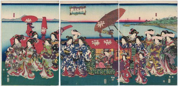 二代歌川国貞: Palace Ladies on a Sightseeing Trip (Jochû meisho kenbutsu zu) - ボストン美術館