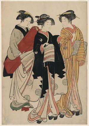 Kitao Shigemasa: Geisha, Assistant, and Maid Carrying Shamisen Case - Museum of Fine Arts