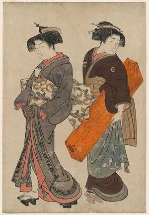 北尾重政: Geisha and Maid Carrying Shamisen Box - ボストン美術館