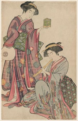 Kitao Shigemasa: Woman Holding an Insect Cage and Woman Playing the Shakuhachi - Museum of Fine Arts