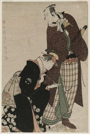 Toshusai Sharaku: Actors Matsumoto Kôshirô IV as Magoemon and Nakayama Tomisaburô as Umegawa - Museum of Fine Arts