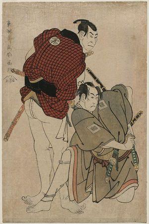 東洲斎写楽: Actors Ichikawa Omezô as Tomita Hyôtarô and Ôtani Oniji III as Kawashima Jibugorô - ボストン美術館