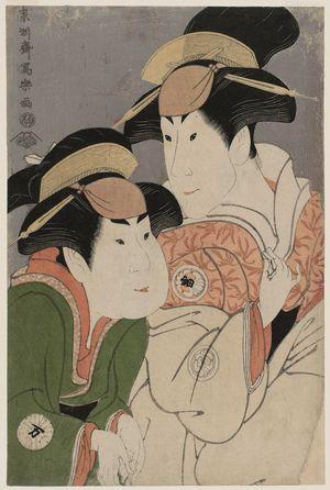 東洲斎写楽: Actors Segawa Tomisaburô II as Yadorigi, Wife of Ôgishi Kurando, and Nakamura Man'yo as the Maid Wakakusa - ボストン美術館