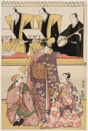 鳥居清長: Actors Sawamura Sôjûrô III as Shigemori, Nakayama Kojûrô as Chidori, and Ichikawa Yaozô III as Yononaka Yoshibei, actually Yoshihira, with chanters Tomimoto Buzendayû and Tomimoto Itsukidayû, and accompanist Namizaki Tokuji - ボストン美術館