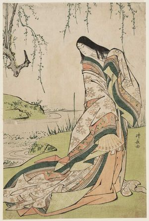 Torii Kiyonaga: Ono no Komachi Standing beside a Stream, from an untitled series of classical beauties - Museum of Fine Arts
