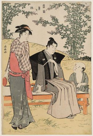 鳥居清長: Viewing Bush Clover, from the series Current Manners in Eastern Brocade (Fûzoku Azuma no nishiki) - ボストン美術館