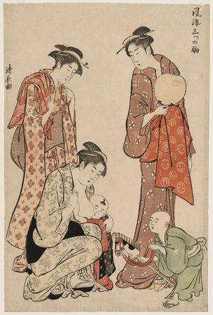 鳥居清長: New Year Hobbyhorse (Harukoma), from the series Three Fashionable Horses (Fûryû mitsu no koma) - ボストン美術館