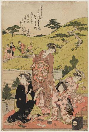 勝川春潮: Courtesans and Kamuro Viewing Plum Blossoms - ボストン美術館