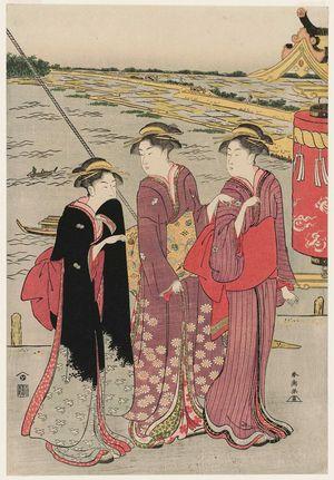 勝川春潮: Visiting the Masaki Inari Shrine - ボストン美術館