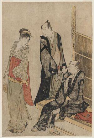 勝川春潮: Actors Onoe Matsusuke and Ichikawa Omezô at a Teahouse - ボストン美術館