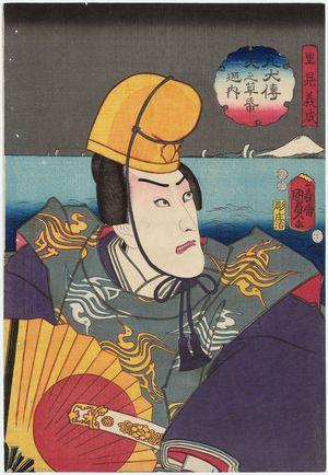 Utagawa Kunisada II: Actor Ichikawa Danjûrô VIII as Satomi Yoshinari, from the series The Book of the Eight Dog Heroes (Hakkenden inu no sôshi no uchi) - Museum of Fine Arts