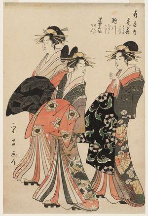 Chokosai Eisho: Courtesans of the Ôgiya: Hanaôgi, kamuro Yoshino and Tatsuta; Segawa, kamuro Onami and Menami; Miyahito, kamuro Tsubaki and Shirabe - Museum of Fine Arts