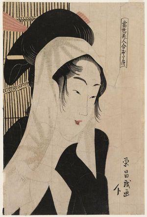 鳥高斎栄昌: Otatsu, from the series Comparisons of Modern Beauties (Tôsei bijin awase) - ボストン美術館