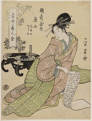 鳥高斎栄昌: Morokoshi of the Echizenya, kamuro Ayano and Orino, from the series Comparisons of Modern Beauties (Tôsei bijin awase) - ボストン美術館