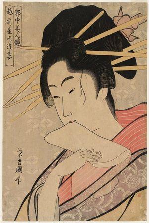 鳥高斎栄昌: Asazuma of the Echizen-ya, from the series Contest of Beauties of the Pleasure Quarters (Kakuchû bijin kurabe) - ボストン美術館