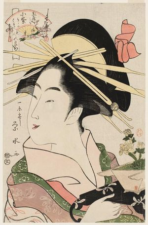 一楽亭栄水: Komurasaki of the Tamaya, kamuro Kikino and Haruji, from the series Beauties for the Five Festivals (Bijin gosekku) - ボストン美術館