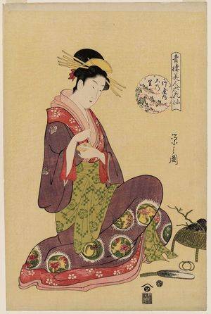 細田栄之: Konosato of the Takeya, from the series Beauties of the Yoshiwara as Six Floral Immortals (Seirô bijin Rokkasen) - ボストン美術館