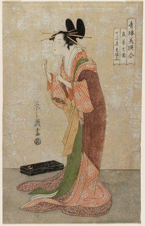 細田栄之: Misayama of the Chôjiya in Her Nightclothes (Tokogi no zu), from the series A Comparison of Selected Beauties of the Pleasure Quarters (Seirô bisen awase) - ボストン美術館