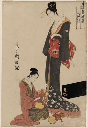 Hosoda Eishi: Ohane and Ofuku, from the series Selected Geisha of the Yoshiwara (Seirô geisha sen) - Museum of Fine Arts