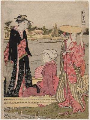 細田栄之: Women in a Ferry Boat, from the series Eight Layers of Brocade in the Capital (Miyako yae no nishiki) - ボストン美術館