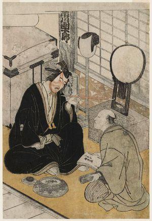 勝川春章: Actor Ichikawa Danjûrô V in His Dressing Room, from an untitled series of actors backstage - ボストン美術館