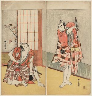 Katsukawa Shunko: Actors Nakamura Nakazô (R) and Ichikawa Danjûrô V (L) - Museum of Fine Arts