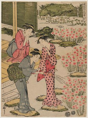 北尾政美: The Sixth Month (Rokugatsu), from the series (?) Women's Customs: Flower Viewing Parties (Onna fûzoku hana no en) - ボストン美術館
