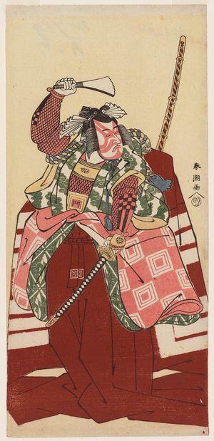 勝川春潮: Actor Ichikawa Monnosuke in Shibaraku - ボストン美術館