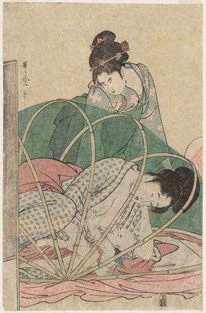 喜多川歌麿: Mother Nursing Baby under Mosquito Net - ボストン美術館