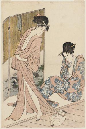 喜多川歌麿: Women after the Bath Playing with a Cat - ボストン美術館