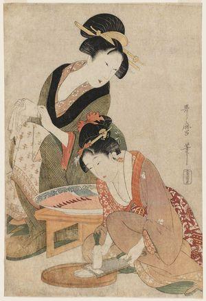 喜多川歌麿: Grating Radish for Sashimi - ボストン美術館