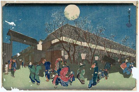 歌川広重: Cherry Blossoms at Night on Naka-no-chô in the Yoshiwara (Yoshiwara Naka-no-chô yozakura), from the series Famous Places in the Eastern Capital (Tôto meisho) - ボストン美術館