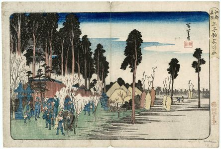 Utagawa Hiroshige: Inari Shrine at Ôji (Ôji Inari no yashiro), from the series Famous Places in Edo (Kôto meisho) - Museum of Fine Arts