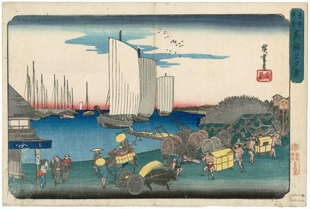 Utagawa Hiroshige: Evening View of Takanawa (Takanawa no yûkei), from the series Famous Places in the Eastern Capital (Tôto meisho) - Museum of Fine Arts