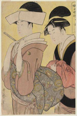 喜多川歌麿: Hour of the Monkey (Saru no koku), from the series Sundial of Young Women (Musume hi-dokei) - ボストン美術館