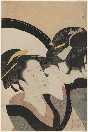 喜多川歌麿: Seven Women Applying Make-up Using a Mirror (Sugatami shichinin keshô) - ボストン美術館