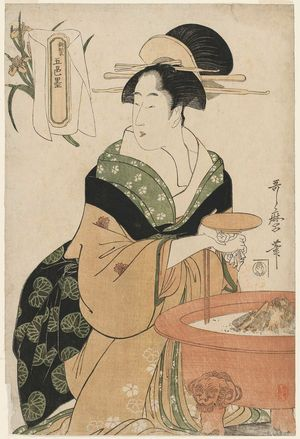 Kitagawa Utamaro: Woman Seated by a Hibachi, from the series Five Shades of Ink, Newly Made (Shinsei goshiki-zumi) - Museum of Fine Arts