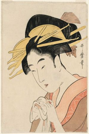 Kitagawa Utamaro: Reception Room in the Yoshiwara (Hokkoku no zashiki), second (?) edition, from the series Ten Beautiful Faces (Bijin jûyô) - Museum of Fine Arts