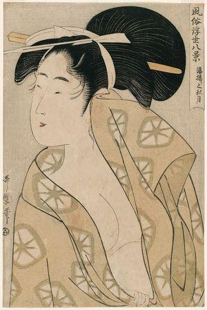 Kitagawa Utamaro: Autumn Moon after the Bath (Yuagari shûgetsu), from the series Eight Views of Customs in the Floating World (Fûzoku ukiyo hakkei) - Museum of Fine Arts
