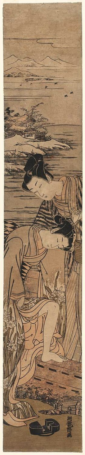 Isoda Koryusai: Young Woman Dropping Her Geta as She Boards a Boat - Museum of Fine Arts