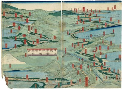 Utagawa Sadahide: Tokaido shokei Nihonbashi yori Arai made - Museum of Fine Arts