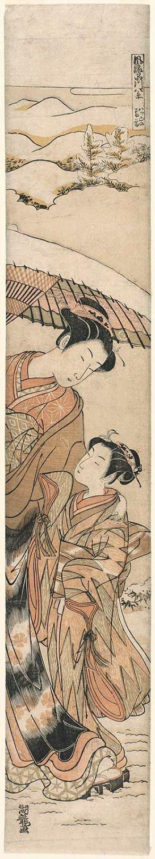 Isoda Koryusai: Twilight Snow on Yatsuyama (Yatsuyama no bosetsu), from the series Fashionable Eight Views of Shinagawa (Fûryû Shinagawa hakkei) - Museum of Fine Arts