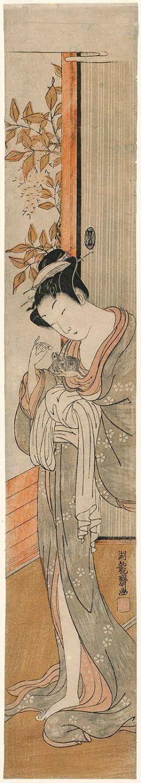 Isoda Koryusai: Woman Feeding Her Pet Rat - Museum of Fine Arts