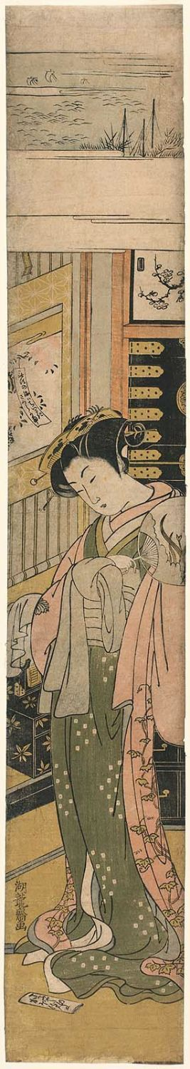 Isoda Koryusai: Kaoru of the Chôjiya, Looking Down at a Love Letter on the Floor - Museum of Fine Arts