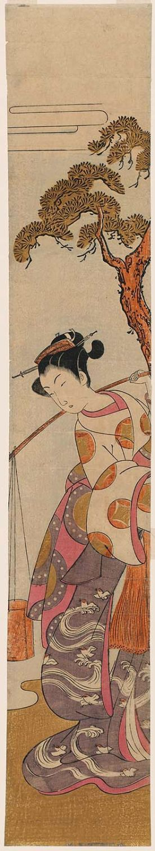 Utagawa Toyoharu: Brine Maiden (Shiokumi) - Museum of Fine Arts