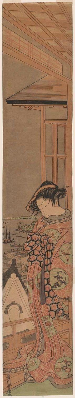 Utagawa Toyonobu: Courtesan on a Balcony at Shinagawa - ボストン美術館