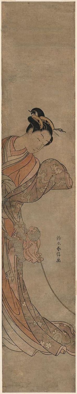 鈴木春信: Woman with Pet Monkey - ボストン美術館