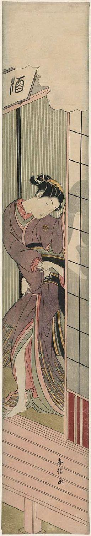 鈴木春信: Man behind a Sliding Door Pulling at a Woman Leaving the Room - ボストン美術館