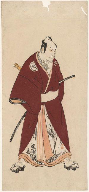 勝川春章: Actor Matsumoto Kôshirô III as Gokuin Sen'emon, one of the Five Chivalrous Commoners - ボストン美術館