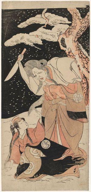 勝川春章: Actors Nakamura Utaemon I as Karashi Baba and Yoshizawa Sakinosuke III as Shirotae - ボストン美術館